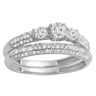 14k White Gold 7/8ct TDW Round Diamond 3-stone Bridal Engagement Ring Wedding Band Set (H-I, I1-I2)