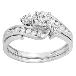 14k Gold 7/8ct TDW Round Diamond Swirl Bridal Engagement Ring with Matching Band Set (H-I, I1-I2)