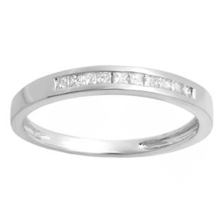 Elora 18k Gold 1/5ct TDW Princess-cut Diamond Anniversary Wedding Band Stackable Ring