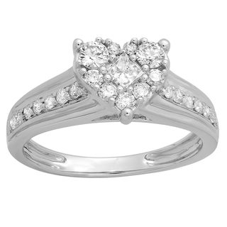 Elora 10k Gold 3/4ct TDW Princess and Round Diamond Bridal Heart Shaped Promise Engagement Ring (H-I, I1-I
