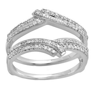 Elora 10k Gold 1/3ct TDW Round Diamond Anniversary Wedding Band Enhancer Double Guard Ring (H-I, I1-I2)