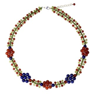Handcrafted Sterling Silver Overlay 'Primrose' Multi-gemstone Necklace (Thailand)