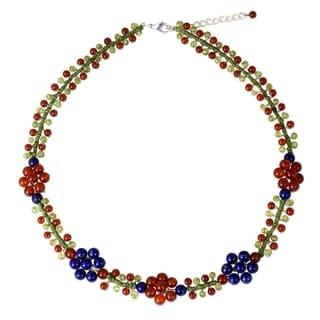 Handmade Sterling Silver Overlay 'Primrose' Multi-gemstone Necklace (Thailand)