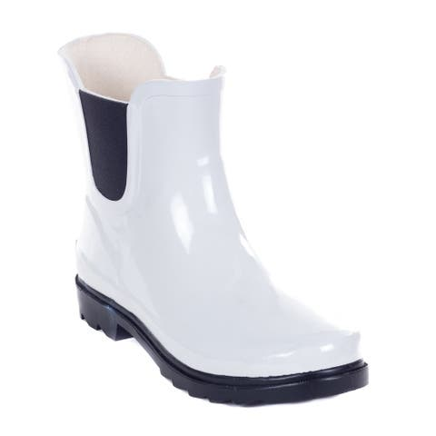 Forever Young Women's White Rubber 11-inch Ankle Rain Boots