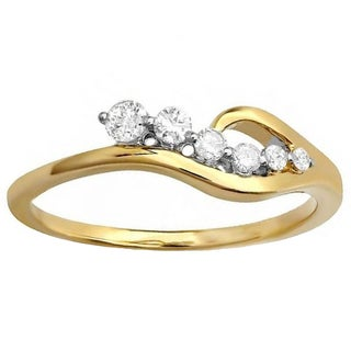 Elora 14k Yellow Gold 1/4ct TDW Round White Diamond Right Hand Journey Ring (H-I, I2-I2)