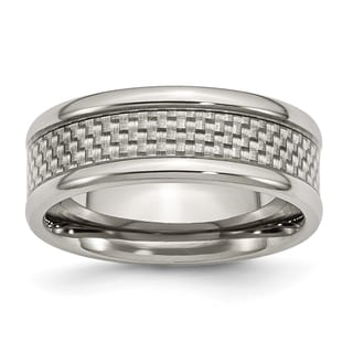 Titanium and Grey Carbon Fiber 8mm Polished Band