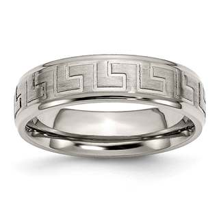 Titanium Ridged Edge Greek Key Design 6mm Band