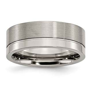 Titanium Grooved 8mm Brushed and Polished Band (More options available)