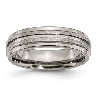 Titanium Grooved Ridged Edge 6mm Satin and Polished Band
