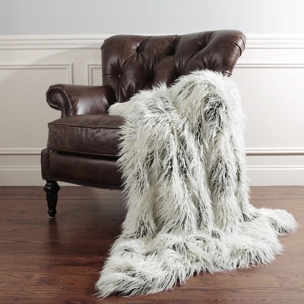Aurora Home Tibetan Lamb Faux Fur Throw Blanket by Wild Mannered