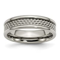 Titanium and Grey Carbon Fiber 6mm Polished Band