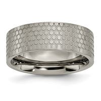 Chisel Titanium 8mm Brushed Patterned Flat Band