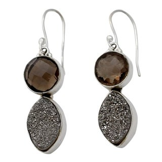 Handcrafted Sterling Silver 'Stormy Night' Drusy Smoky Quartz Earrings (India)