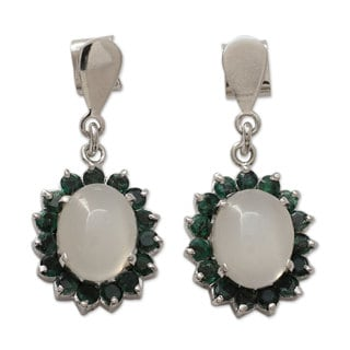 Handcrafted Sterling Silver 'Love and Devotion' Emerald Moonstone Earrings (India)