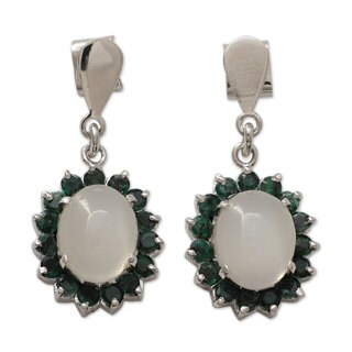 Handmade Sterling Silver 'Love and Devotion' Emerald Moonstone Earrings (India)