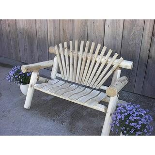 White Cedar Log Rustic Park Bench