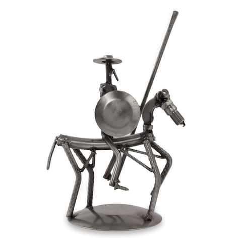 Handmade Recycled Auto Parts 'Eco Friendly Quixote' Sculpture (Mexico)