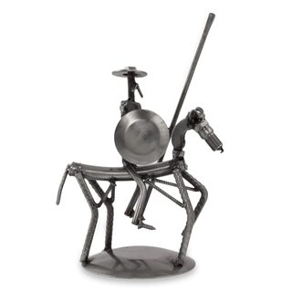 Handcrafted Recycled Auto Parts 'Eco Friendly Quixote' Sculpture (Mexico)