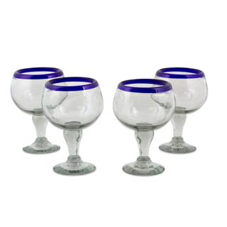 Set of 4 Handcrafted Blown Glass 'Cobalt Kiss' Goblets (Mexico)