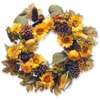 National Tree Company Yellow and Orange Fabric 22-inch Wreath with Pumpkins and Sunflowers