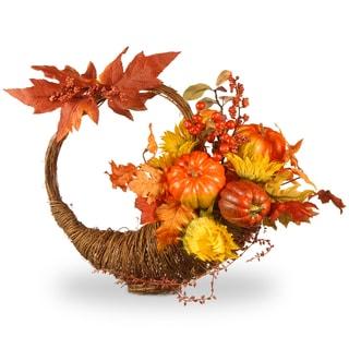 National Tree Company Yello/Orange Plastic 23-inch Autumn Cornucopia Basket