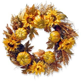 Pumpkins and Sunflowers 30-inch Wreath