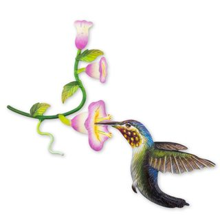 Handcrafted Steel 'Hummingbird and Hollyhocks' Wall Art Sculpture (Mexico)