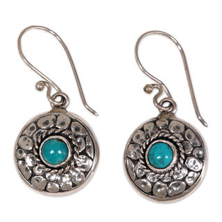 Handmade Sterling Silver 'Blue Medallion' Turquoise Earrings (Indonesia)