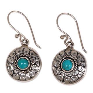 Handmade Sterling Silver 'Blue Medallion' Turquoise Earrings (Indonesia)
