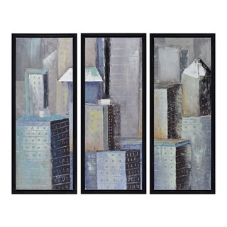 Benjamin Parker 'City Triptych' Hand-embellished Framed Painting Print Wall Art - Multi - 16 x 20