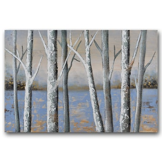 Benjamin Parker 'Birch' 24 x 48-inch Hand-painted Wood Wall Art