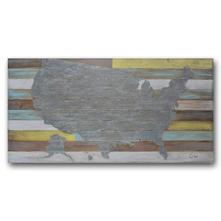 Benjamin Parker 'Silver States' 30 x 60-inch Hand-painted Wood Wall Art