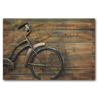 Benjamin Parker 'Bike With Basket' 31-inch x 47-inch Hand-crafted Wood and Metal Wall Art