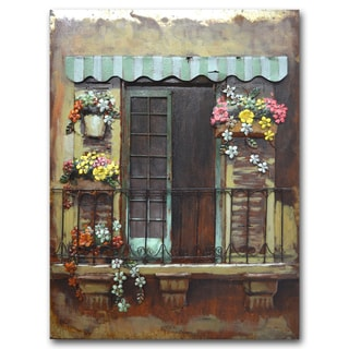 Benjamin Parker 'Under the Awning' 30-inch x 39-inch Raised-metal Wall Art