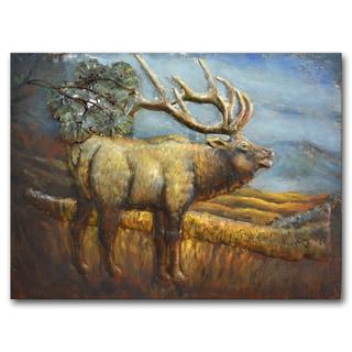 Benjamin Parker 'Elk on the Range' 24-inch x 31-inch Raised Metal Wall Art