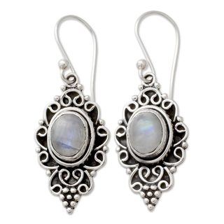Handcrafted Sterling Silver 'Celestial Dewdrops' Rainbow Moonstone Earrings (India)