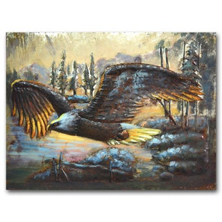 Benjamin Parker 'Eagle in Flight' Raised Metal 24-inch x 31-inch Wall Art