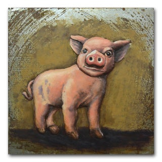 Benjamin Parker 'This Little Piggy' 24-inch Raised Metal Wall Art