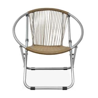 Garden Place Brown Wicker Web Saucer Chair