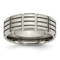 Chisel Titanium 8mm Grooved Polished Band