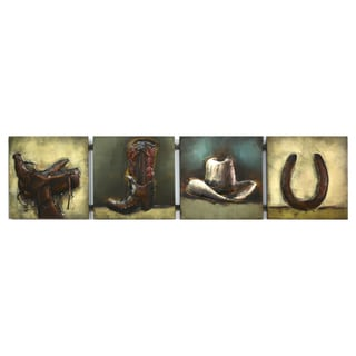 Benjamin Parker 'Barn Life' Raised Metal 12-inch x 49-inch Wall Art