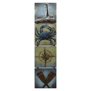 Benjamin Parker 'Shore Life' Raised Metal 12-inch x 49-inch Wall Art