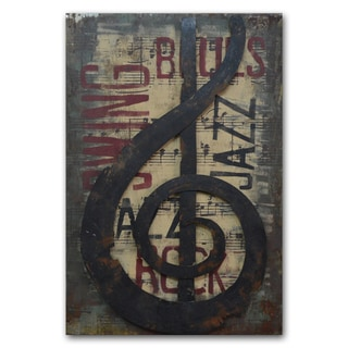 Benjamin Parker 'Treble' 24-inch x 35-inch Raised Metal Wall Art
