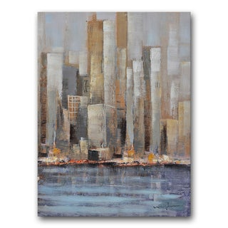Benjamin Parker 'High Rises' Multicolored Canvas Hand-embellished Print Wall Art