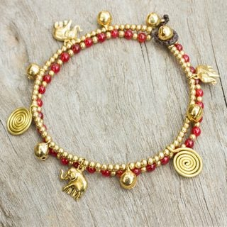 Handcrafted Brass 'Elephant Bells' Dyed Quartz Anklet (Thailand)