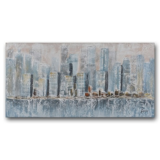 Benjamin Parker 'Cityscape in Blue; 30 x 60-inch Hand-embellished Painting Print Wall Art