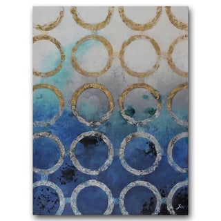 Benjamin Parker 'Mixed Metals' 36-inch x 48-inch Hand-embellished Painting Wall Art