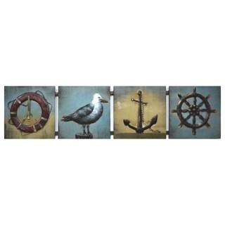Benjamin Parker 'Anchored' 12-inch x 49-inch Raised Metal Wall Art