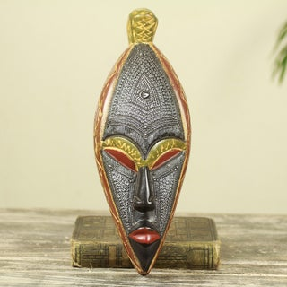 Handcrafted Sese Wood Embossed Aluminum 'Warrior' African Wall Mask (Ghana)