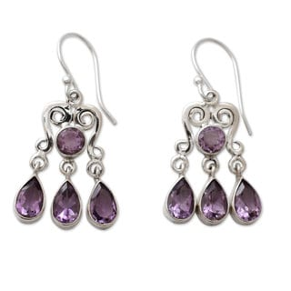 Handcrafted Sterling Silver 'Violet Symmetry' Amethyst Chandelier Earrings (India)